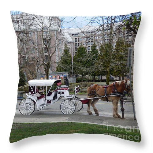 Victoria Throw Pillow featuring the photograph Victoria Horse Carriages by Charles Robinson