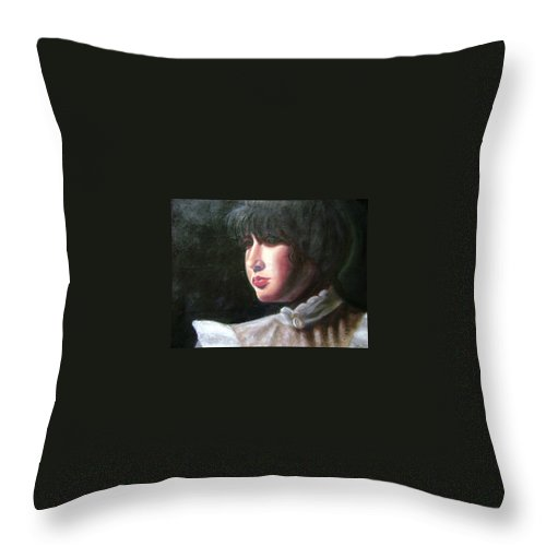 Girl In White Blouse Throw Pillow featuring the painting Victorian Blouse by Toni Berry