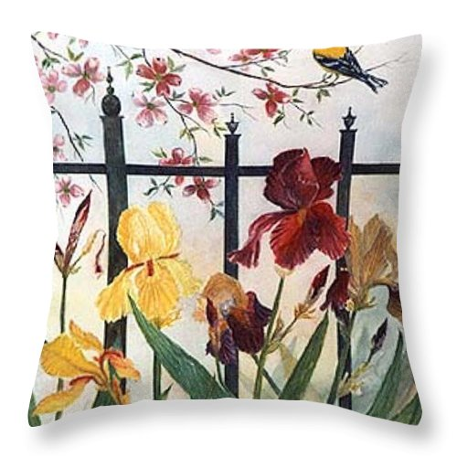 Irises; American Goldfinch; Dogwood Tree Throw Pillow featuring the painting Victorian Garden by Ben Kiger