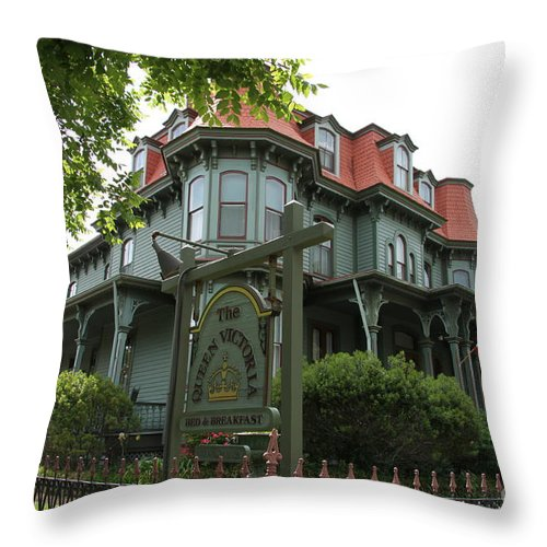 Victorian Guesthouse Throw Pillow featuring the photograph Victorian Guesthouse by Christiane Schulze Art And Photography
