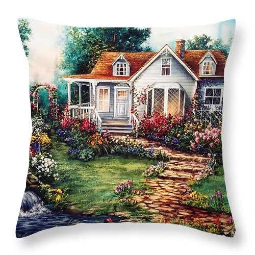 Victorian Throw Pillow featuring the painting Victorian House With Gardens by Jean Harrison