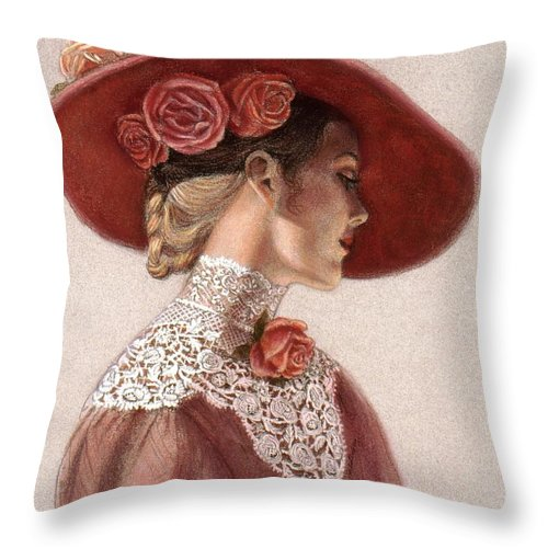 Victorian Lady Throw Pillow featuring the painting Victorian Lady In A Rose Hat by Sue Halstenberg
