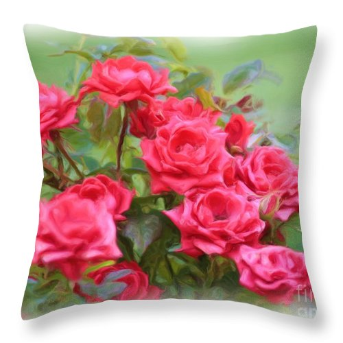 Floral Throw Pillow featuring the photograph Victorian Rose Garden - Digital Painting by Carol Groenen