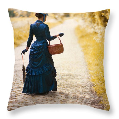 Victorian Throw Pillow featuring the photograph Victorian Woman With A Wicker Shopping Basket by Lee Avison