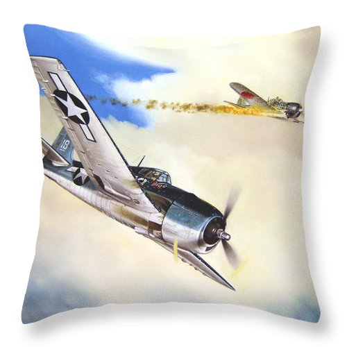 Military Throw Pillow featuring the painting Victory For Vraciu by Marc Stewart