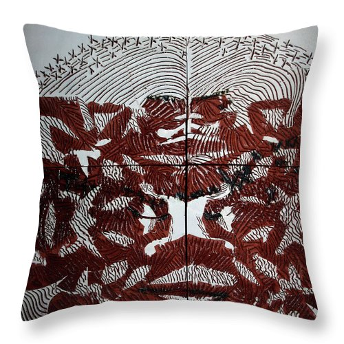 Mama Africa Twojesus Throw Pillow featuring the ceramic art Victory by Gloria Ssali