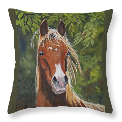 Horse Throw Pillow featuring the painting Victory by Heather Coen