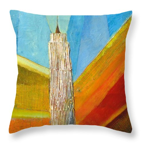 Abstract Cityscape Throw Pillow featuring the painting View From 34th St by Habib Ayat