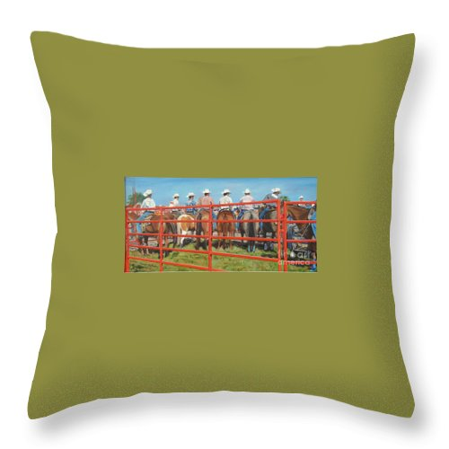 Rodeo Throw Pillow featuring the painting View From Behind by Judy Johnson
