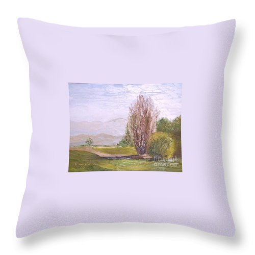 Landscape Throw Pillow featuring the painting View From Casa Galleria by Jeanie Watson