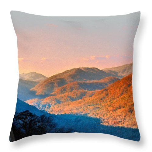 Landscape Throw Pillow featuring the photograph View From Chimney Rock-north Carolina by Steve Karol