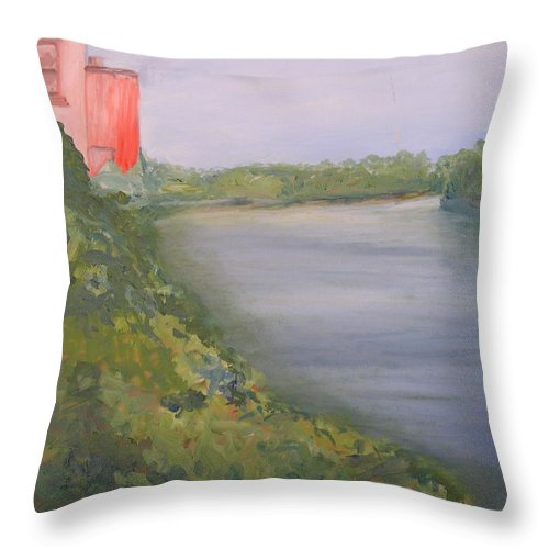 Landscape River Water Nature Throw Pillow featuring the painting View From Edmund Pettus Bridge by Patricia Caldwell