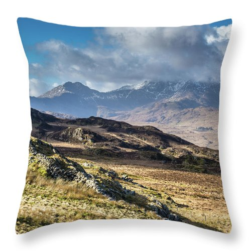 Moel Siabod Throw Pillow featuring the photograph View from Moel Siabod, Snowdonia, North Wales by Anthony Lawlor
