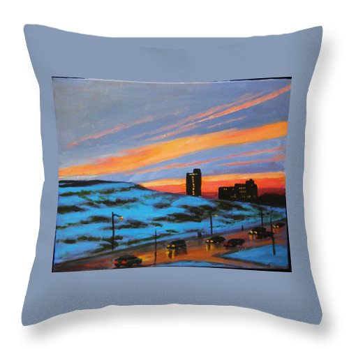 City At Night Throw Pillow featuring the painting View From My Balcony by John Malone