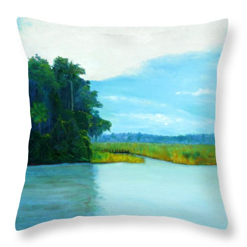 Intracoastal Throw Pillow featuring the painting View From Old Kings Bridge by Blaine Filthaut