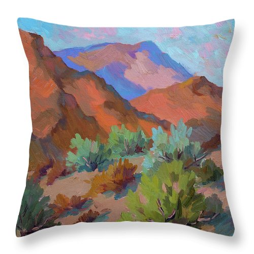 View From Visitor Center Throw Pillow featuring the painting View From Santa Rosa - San Jacinto Visitor Center by Diane McClary