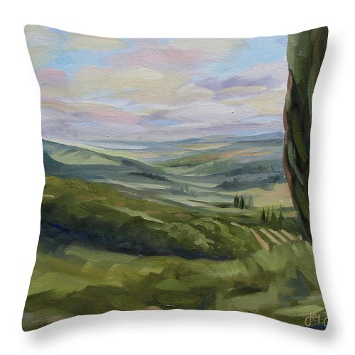 Landscape Throw Pillow featuring the painting View From Sienna by Jay Johnson