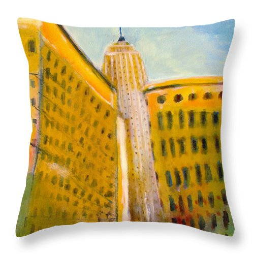 Abstract Cityscape Throw Pillow featuring the painting View From The 33 St by Habib Ayat
