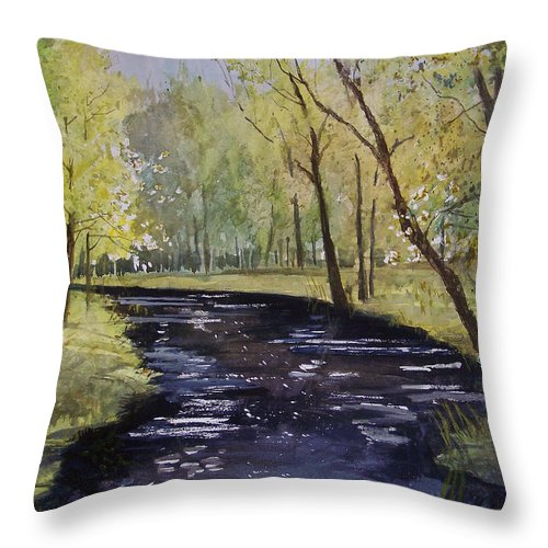 Watercolor Throw Pillow featuring the painting View From The Covered Bridge by Ryan Radke