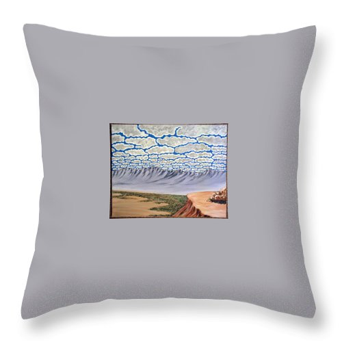 Desertscape Throw Pillow featuring the painting View from the Mesa by Marco Morales