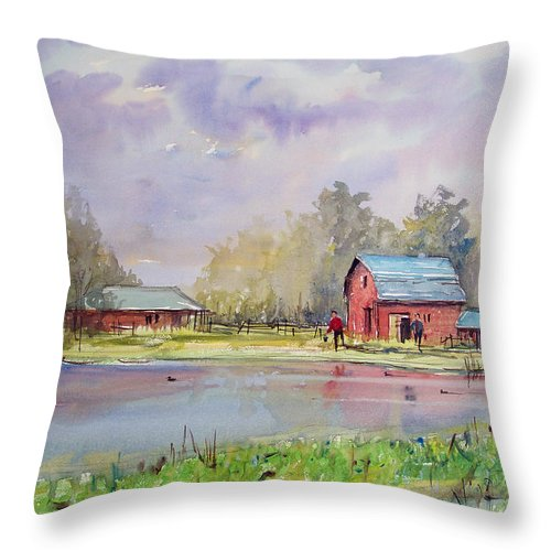 Landscape Throw Pillow featuring the painting View From The Millpond by Ryan Radke