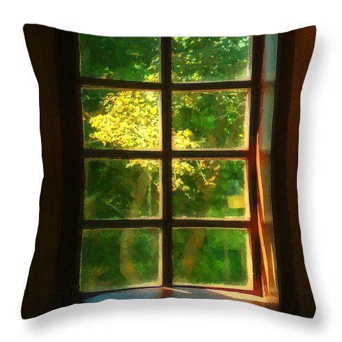 Autumn Throw Pillow featuring the painting View From The Orwell Corner Church by RC DeWinter