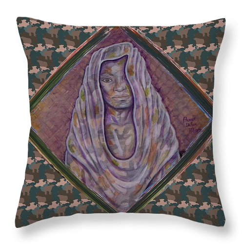 Throw Pillow featuring the painting View From The Street 2 by Brenda Dulan Moore