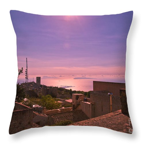Sunset Throw Pillow featuring the photograph View From The Top In Sicily 2 by Madeline Ellis