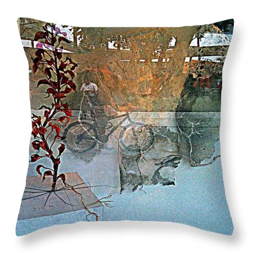 Fania Simon Throw Pillow featuring the mixed media View From The Window by Fania Simon