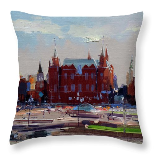 Summer Throw Pillow featuring the painting View From The Window Of The Hotel Metropol. Moscow. Manezhnaya Square. by Alexey Shalaev