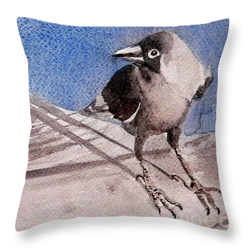 Crow Throw Pillow featuring the painting View by Jasna Dragun