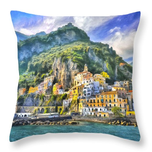 Amalfi Throw Pillow featuring the painting View Of Amalfi by Dominic Piperata