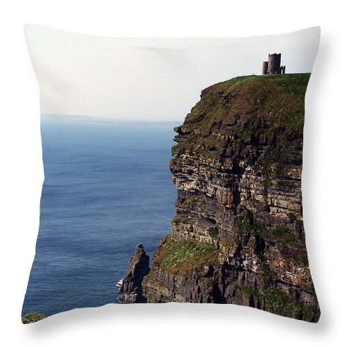 Irish Throw Pillow featuring the photograph View Of Aran Islands And Cliffs Of Moher County Clare Ireland by Teresa Mucha
