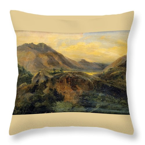 Jules Coignet Throw Pillow featuring the painting View Of Bagneres De Luchon. Pyrenees by Jules Coignet