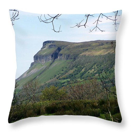 Irish Throw Pillow featuring the photograph View Of Benbulben From Glencar Lake Ireland by Teresa Mucha