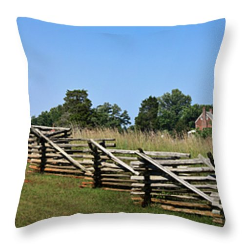 Appomattox Throw Pillow featuring the photograph View Of Clover Hill Tavern Appomattox Court House Virginia by Teresa Mucha