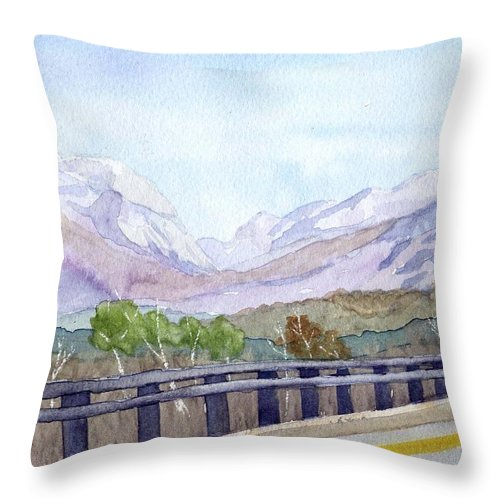 Franconia Notch Throw Pillow featuring the painting View Of Franconia Notch by Sharon E Allen