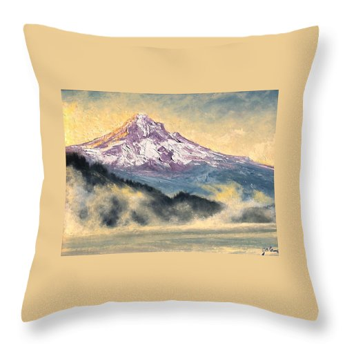Lanscape Throw Pillow featuring the painting View Of Mt Hood by Jim Gola