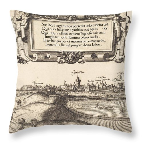 Throw Pillow featuring the drawing View Of Nuremberg From The East [left Section] by Hans Sebald Lautensack