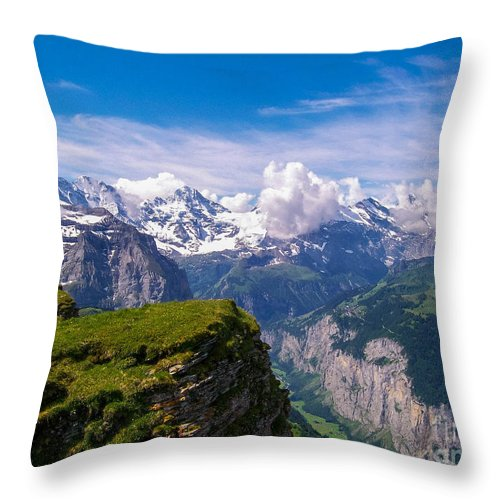 Eiger Throw Pillow featuring the photograph View Of The Swiss Alps by Greg Plamp
