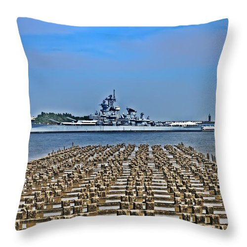 Battleship Throw Pillow featuring the photograph View Of The Battleship New Jersey From Philadelphia by Bill Cannon