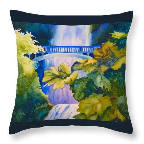 Waterfall Throw Pillow featuring the painting View of the Bridge by Karen Stark