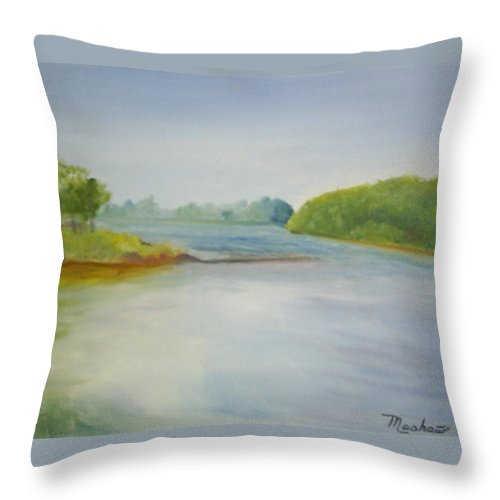 Delaware River Throw Pillow featuring the painting View Of The Delaware by Sheila Mashaw