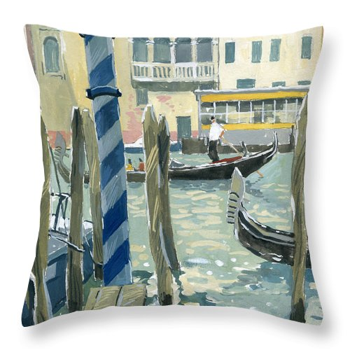 Painting Throw Pillow featuring the painting View Of The Grand Canal In Venice by Sakurov Igor