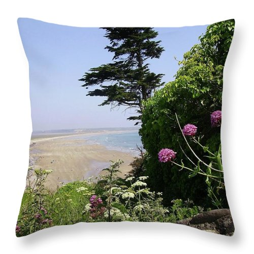 Tramore Throw Pillow featuring the painting View Of Tramore by Saga Sabin