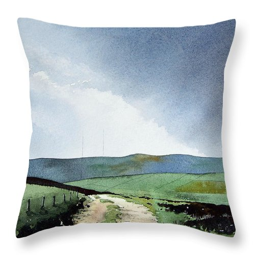 Landscape Throw Pillow featuring the painting View Over Pole Moor by Paul Dene Marlor