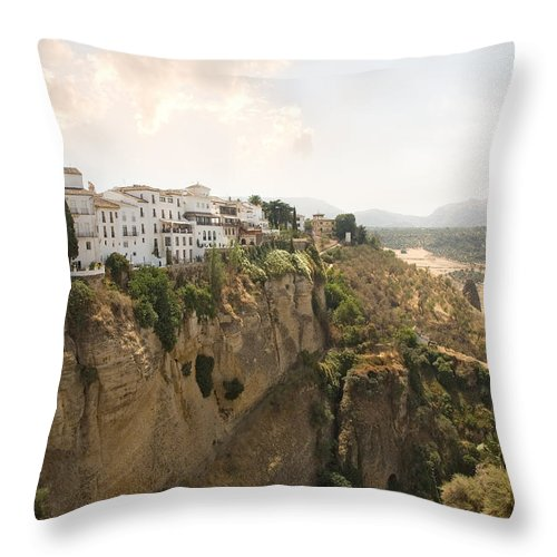 Ronda Throw Pillow featuring the photograph View Over The Tajo Gorge Ronda Home Of Bullfighting by Mal Bray