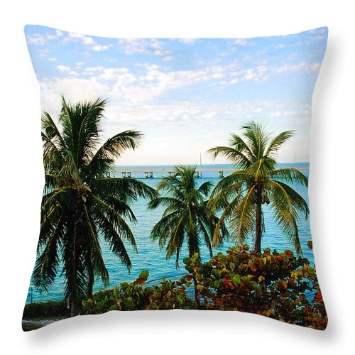 Tropical Throw Pillow featuring the photograph View To The 7 Mile Bridge by Susanne Van Hulst
