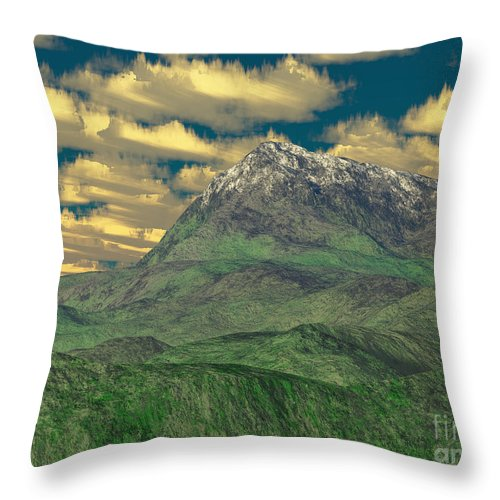 Digital Art Throw Pillow featuring the digital art View To The Mountain by Gaspar Avila