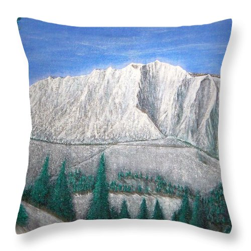 Snow Throw Pillow featuring the painting Viewfrom Spruces by Michael Cuozzo